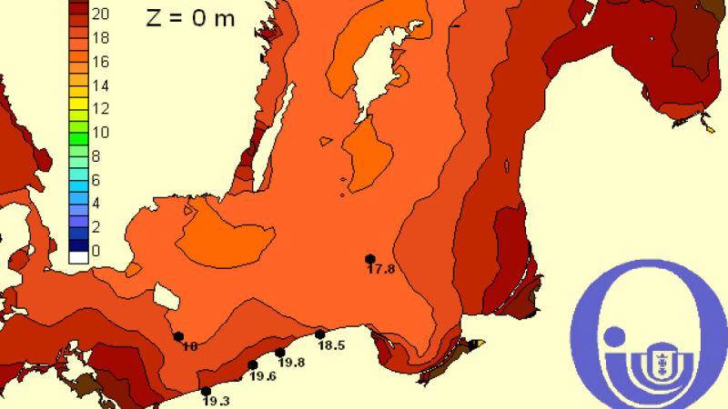 Temperatura Bałtyku / Pracownia Dynamiki Morza, Instytut Oceanografii, Uniwersytet Gdański