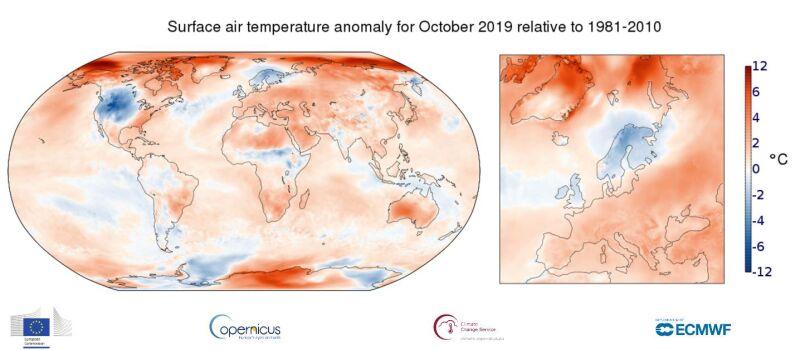 Rozkład temperatury w październiku 2019 w porównaniu do wielolecia 1981- 2010 (climate.copernicus.eu)