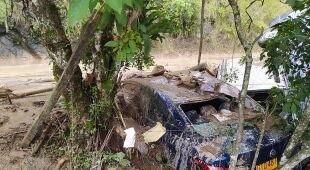 Skutki ulewnych opadów deszczu w Kolumbii (PAP/EPA)