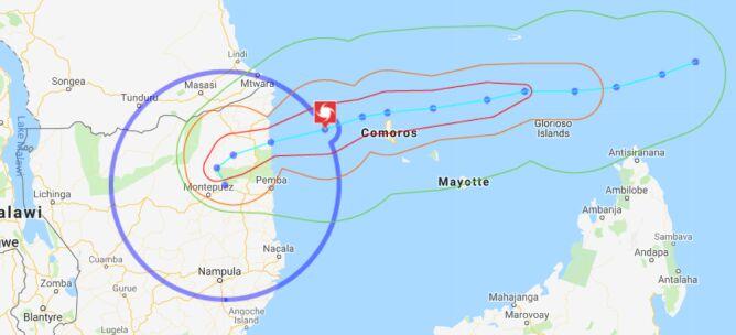 Prognozowana trasa przejścia cyklonu Kenneth - 25 kwietnia (INAM)