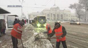 Obfite opady śniegu w Odessie na Ukrainie